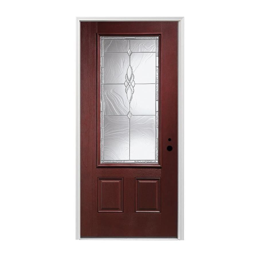 Shop pella left hand inswing red mahogany stained for Exterior door insulation
