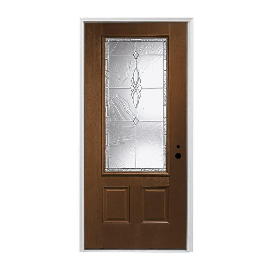 Pella 2-panel Insulating Core 3/4 Lite Left-Hand Inswing Prestained Provincial Fiberglass Stained Prehung Entry Door (Common: 36-in x 80-in; Actual: 37.5-in x 81.75-in)