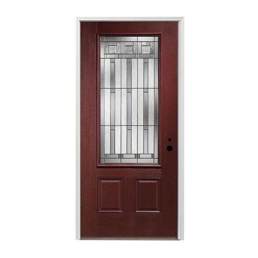 Pella 2-panel Insulating Core 3/4 Lite Left-Hand Inswing Prestained Red Mahogany Fiberglass Stained Prehung Entry Door (Common: 36-in x 80-in; Actual: 37.5-in x 81.75-in)