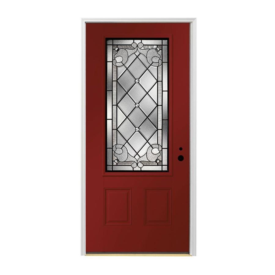 Shop Pella Left Hand Inswing Painted Fiberglass Entry Door