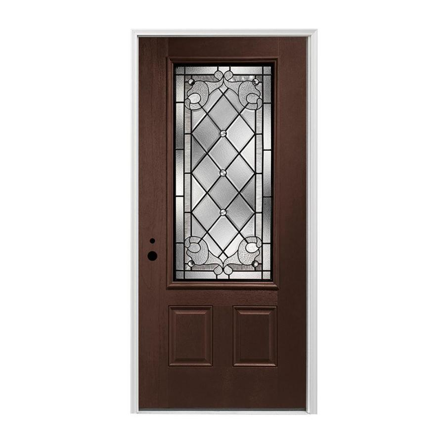 Pella 2-panel Insulating Core 3/4 Lite Right-Hand Inswing Prestained Dark Mahogany Fiberglass Stained Prehung Entry Door (Common: 36-in x 80-in; Actual: 37.5-in x 81.75-in)