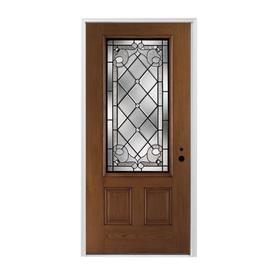 Pella Left Hand Inswing Dark Mahogany Stained Fibergl Entry Door With Insulating Core Common