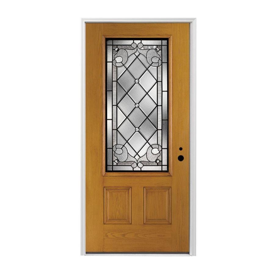 Pella 2-panel Insulating Core 3/4 Lite Left-Hand Inswing Prestained Early American Fiberglass Stained Prehung Entry Door (Common: 36-in x 80-in; Actual: 37.5-in x 81.75-in)