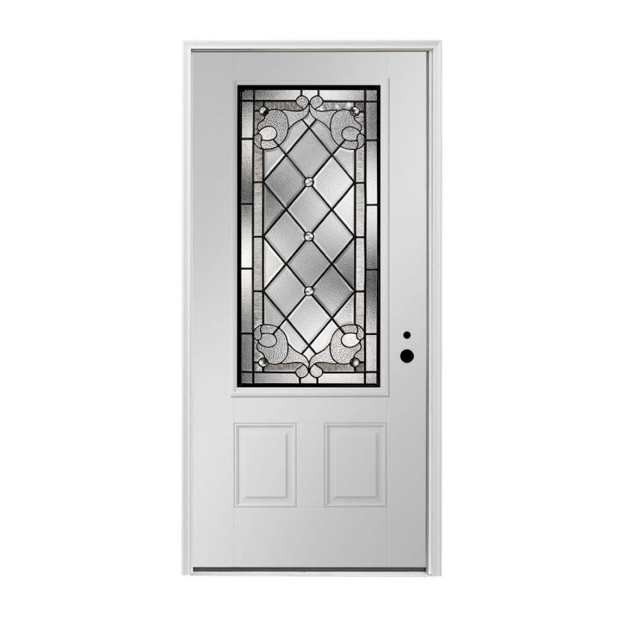Shop Pella 2 Panel Insulating Core 3 4 Lite Left Hand Inswing Fiberglass Painted Prehung Entry