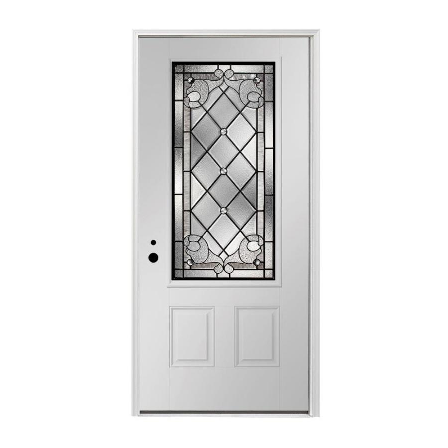 Pella 2-panel Insulating Core 3/4 Lite Right-Hand Inswing Fiberglass Painted Prehung Entry Door (Common: 36-in x 80-in; Actual: 37.5-in x 81.75-in)