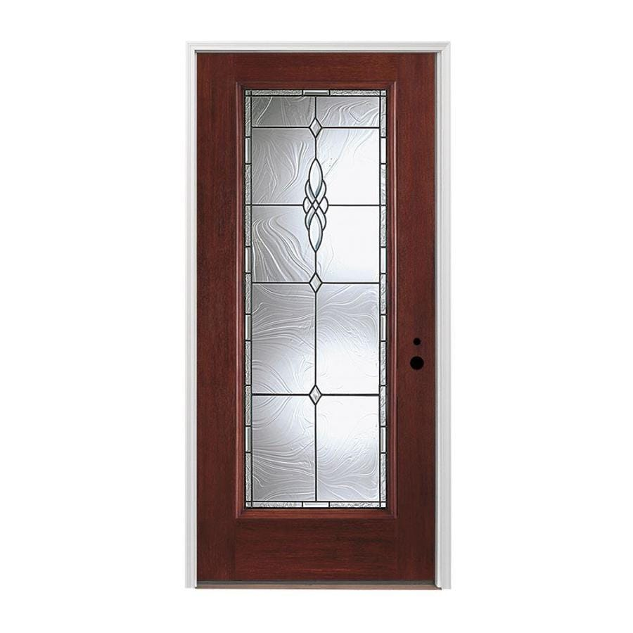 Pella 1-panel Insulating Core Full Lite Left-Hand Inswing Prestained Red Mahogany Fiberglass Stained Prehung Entry Door (Common: 36-in x 80-in; Actual: 37.5-in x 81.75-in)