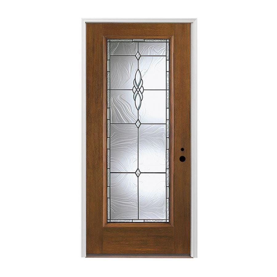 Pella Left-Hand Inswing Provincial Stained Fiberglass Entry Door with Insulating Core (Common: 36-in x 80-in; Actual: 37.5-in x 81.75-in)