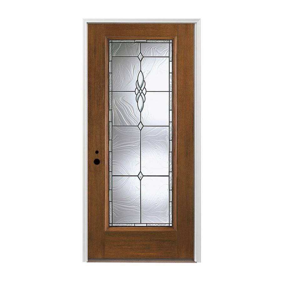 Pella 1-panel Insulating Core Full Lite Right-Hand Inswing Prestained Provincial Fiberglass Stained Prehung Entry Door (Common: 36-in x 80-in; Actual: 37.5-in x 81.75-in)