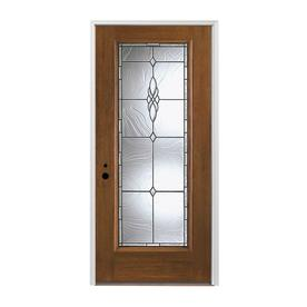 Pella Full Lite Right Hand Inswing Prestained Provincial Stained Fibergl Entry Door With Insulating Core