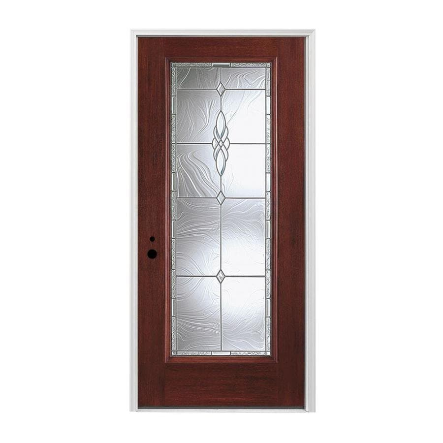 Stained Fiberglass Entry Doors : Shop pella right hand inswing red mahogany stained