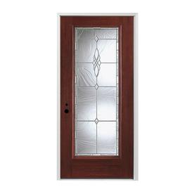 Pella Full Lite Right Hand Inswing Prestained Red Mahogany Stained Fibergl Entry Door With Insulating