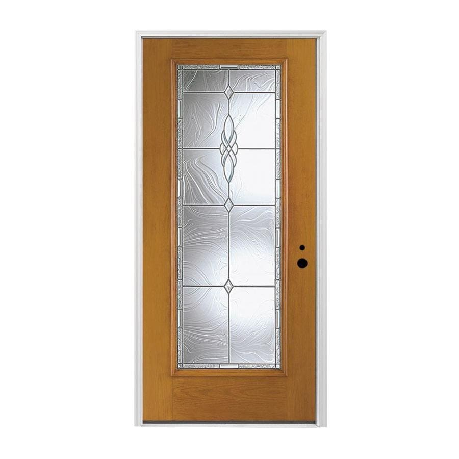 Pella 1-panel Insulating Core Full Lite Left-Hand Inswing Prestained Early American Fiberglass Stained Prehung Entry Door (Common: 36-in x 80-in; Actual: 37.5-in x 81.75-in)
