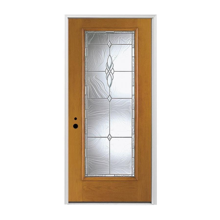 Pella 1-panel Insulating Core Full Lite Right-Hand Inswing Prestained Early American Fiberglass Stained Prehung Entry Door (Common: 36-in x 80-in; Actual: 37.5-in x 81.75-in)