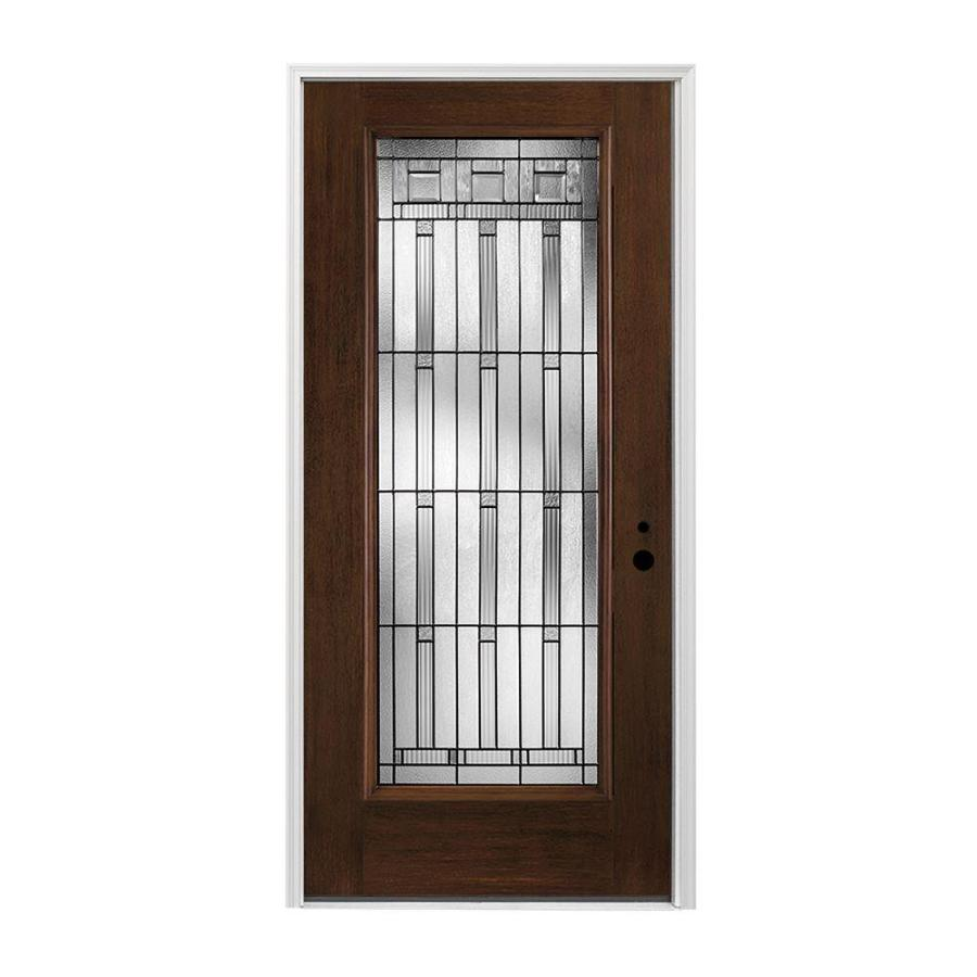 Pella Left-Hand Inswing Dark Mahogany Stained Fiberglass Entry Door with Insulating Core (Common: 36-in x 80-in; Actual: 37.5-in x 81.75-in)