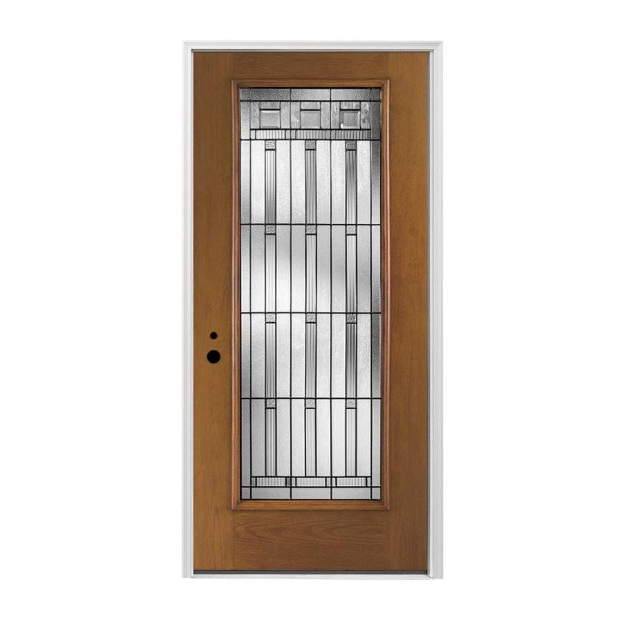 Pella Right-Hand Inswing Provincial Stained Fiberglass Entry Door with Insulating Core (Common: 36-in x 80-in; Actual: 37.5-in x 81.75-in)