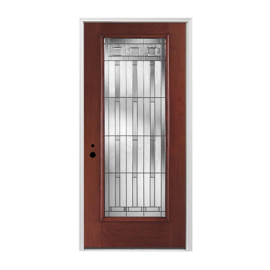Pella 1-panel Insulating Core Full Lite Right-Hand Inswing Prestained Red Mahogany Fiberglass Stained Prehung Entry Door (Common: 36-in x 80-in; Actual: 37.5-in x 81.75-in)