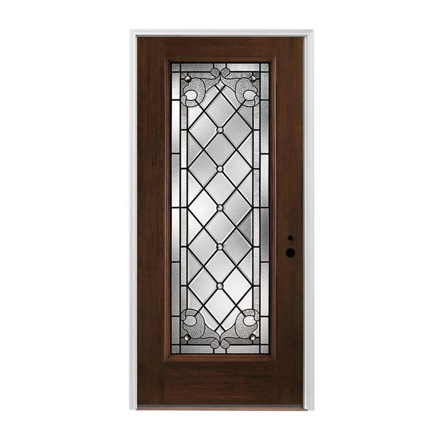 Shop pella left hand inswing dark mahogany stained for Exterior door insulation