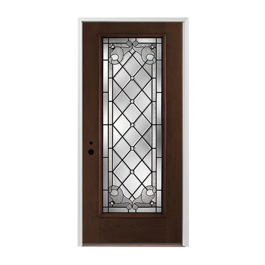 Pella 1-panel Insulating Core Full Lite Right-Hand Inswing Prestained Dark Mahogany Fiberglass Stained Prehung Entry Door (Common: 36-in x 80-in; Actual: 37.5-in x 81.75-in)