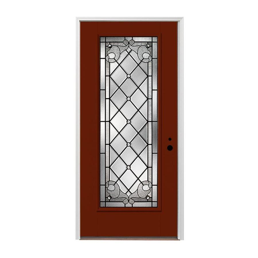 Pella 1-panel Insulating Core Full Lite Left-Hand Inswing Fiberglass Painted Prehung Entry Door (Common: 36-in x 80-in; Actual: 37.5-in x 81.75-in)