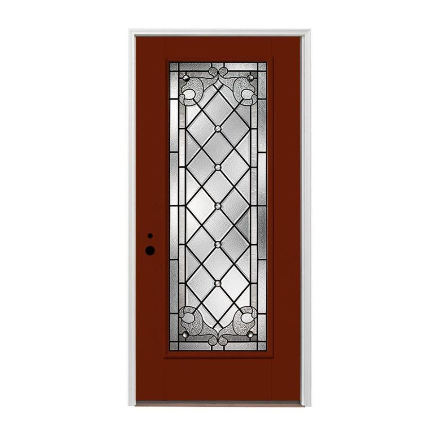 Pella 1-panel Insulating Core Full Lite Right-Hand Inswing Fiberglass Painted Prehung Entry Door (Common: 36-in x 80-in; Actual: 37.5-in x 81.75-in)