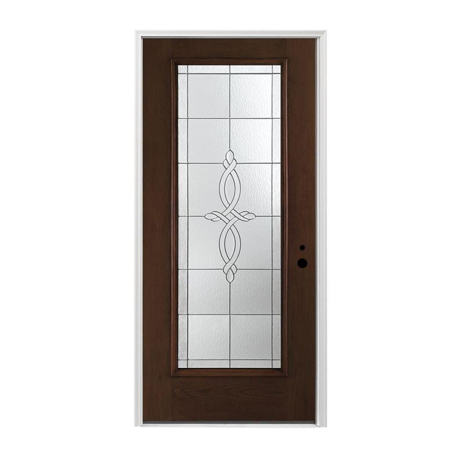 Pella 1-panel Insulating Core Full Lite Left-Hand Inswing Prestained Dark Mahogany Fiberglass Stained Prehung Entry Door (Common: 36-in x 80-in; Actual: 37.5-in x 81.75-in)