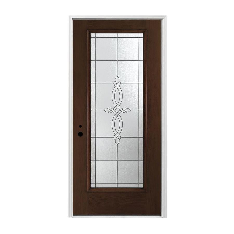 Stained Fiberglass Entry Doors : Shop pella right hand inswing dark mahogany stained