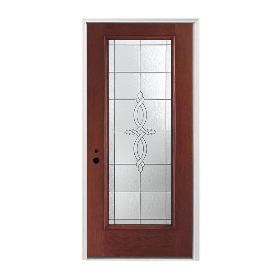 Shop pella right hand inswing red mahogany stained for Exterior door insulation