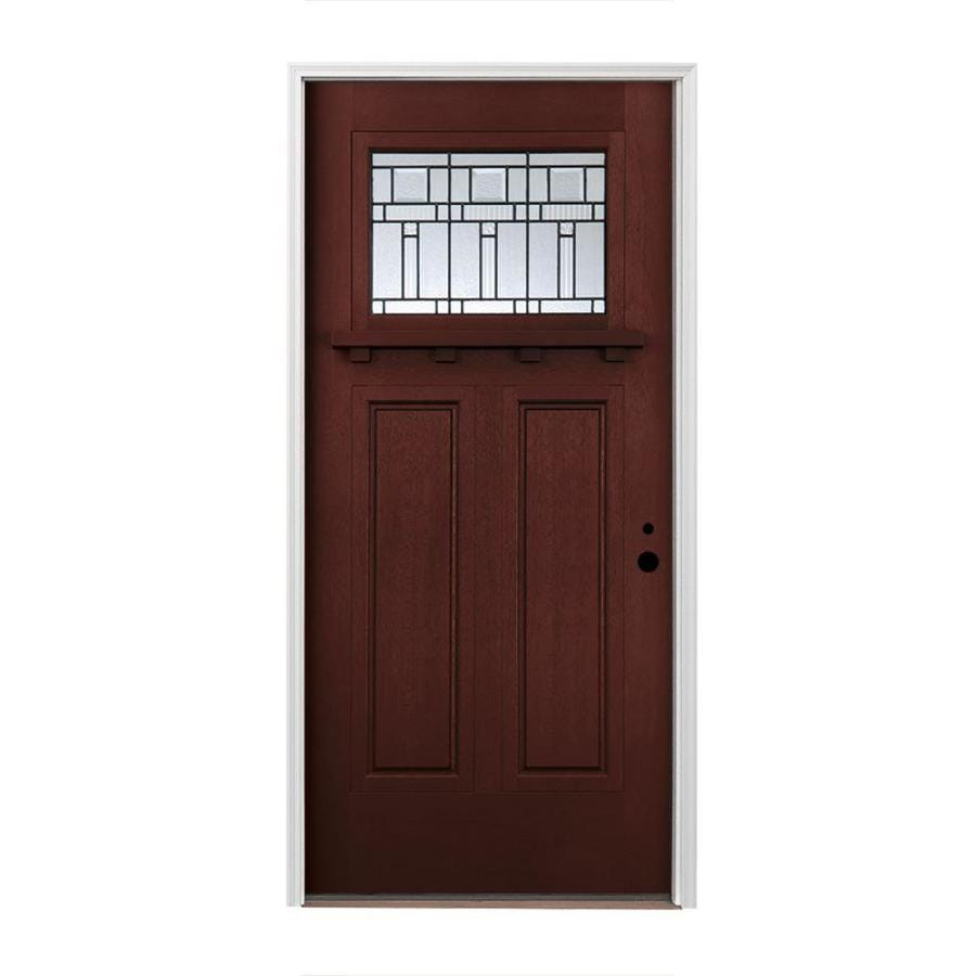 Stained Fiberglass Entry Doors : Shop pella left hand inswing red mahogany stained