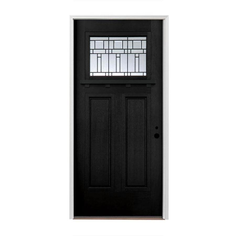 Pella Craftsman Insulating Core Craftsman 1-lite Left-Hand Inswing Fiberglass Painted Prehung Entry Door (Common: 36-in x 80-in; Actual: 37.5-in x 81.75-in)