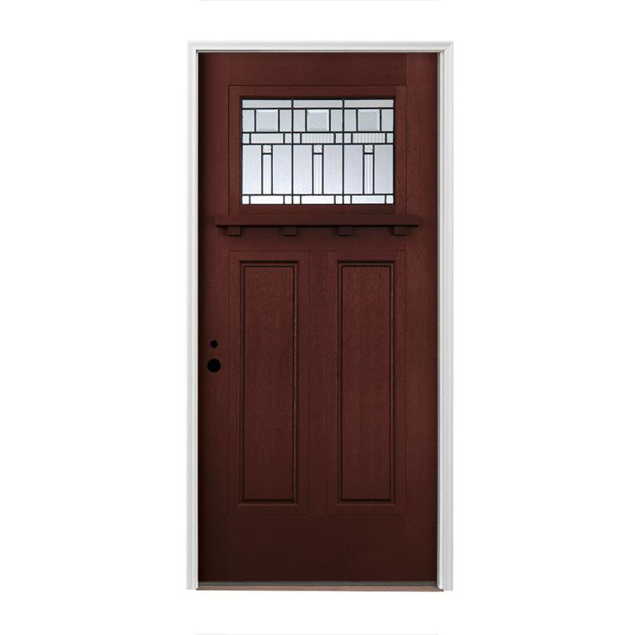 Pella Craftsman Insulating Core Craftsman 1-lite Right-Hand Inswing Prestained Red Mahogany Fiberglass Stained Prehung Entry Door (Common: 36-in x 80-in; Actual: 37.5-in x 81.75-in)