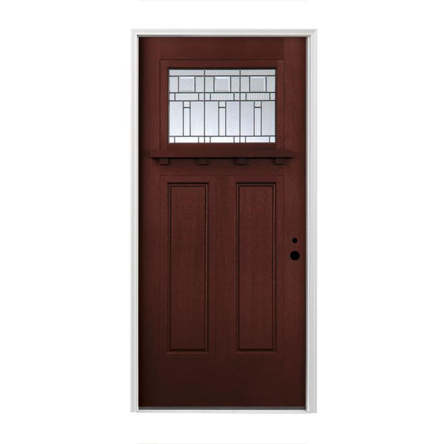 Pella Left-Hand Inswing Red Mahogany Stained Fiberglass Entry Door with Insulating Core (Common: 36-in x 80-in; Actual: 37.5-in x 81.75-in)