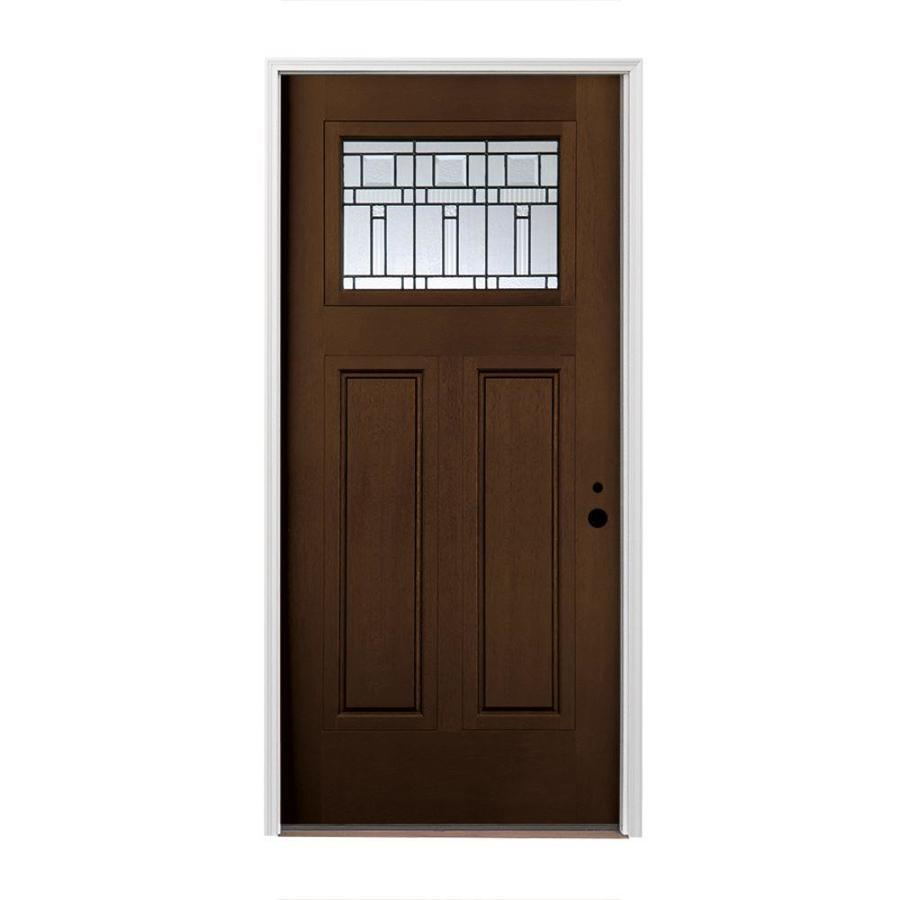 Pella Craftsman Insulating Core Craftsman 1-lite Left-Hand Inswing Prestained Dark Mahogany Fiberglass Stained Prehung Entry Door (Common: 36-in x 80-in; Actual: 37.5-in x 81.75-in)