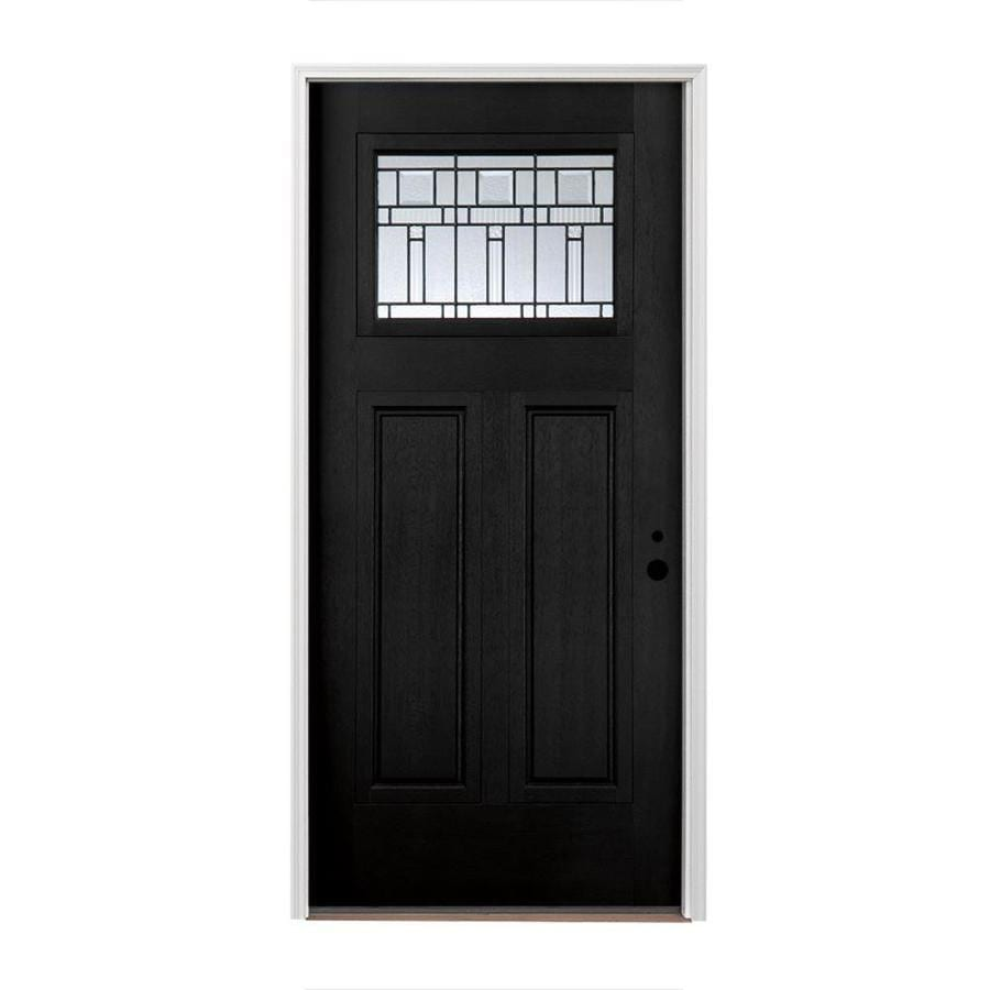 Shop Pella Left Hand Inswing Painted Fiberglass Entry Door With Insulating Core Common 36 In X
