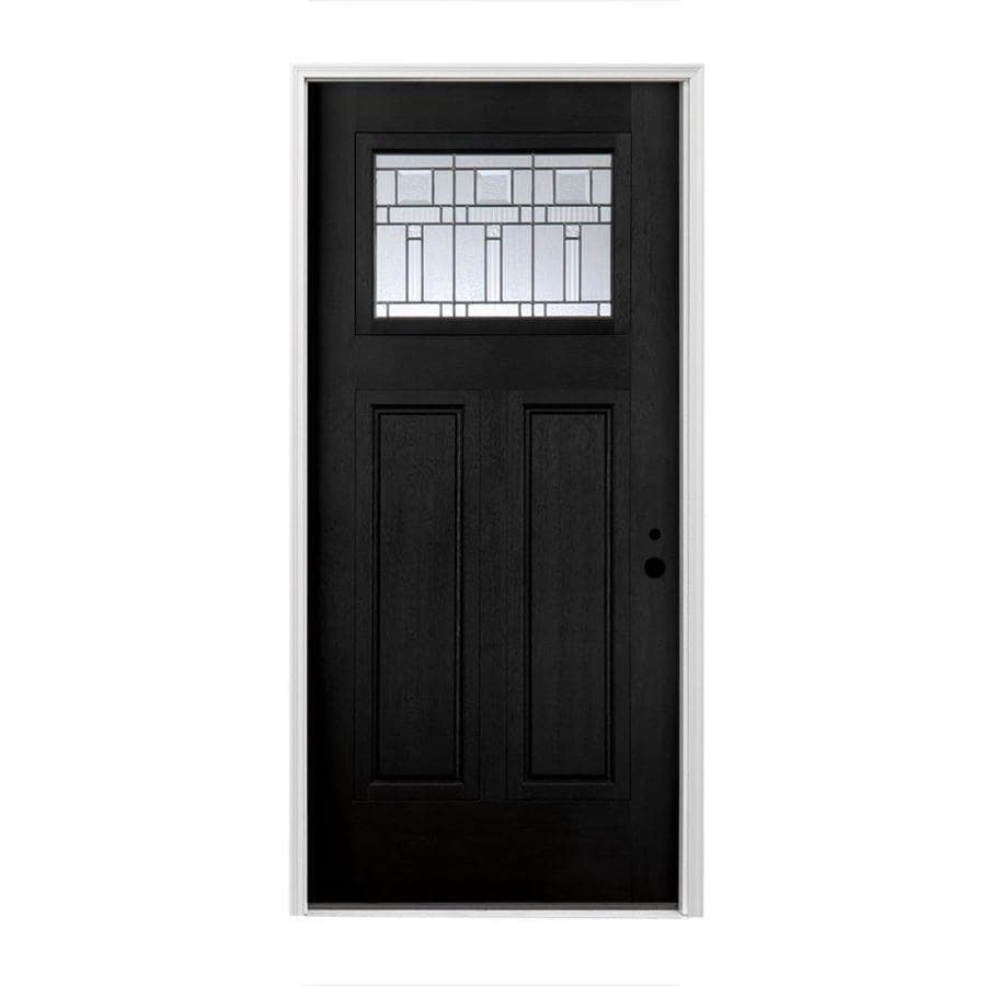 Pella Craftsman Insulating Core Craftsman 1-lite Left-Hand Inswing Fiberglass Painted Prehung Entry Door (Common: 36-in x 80-in; Actual: 37.5-in x 81.75-in)