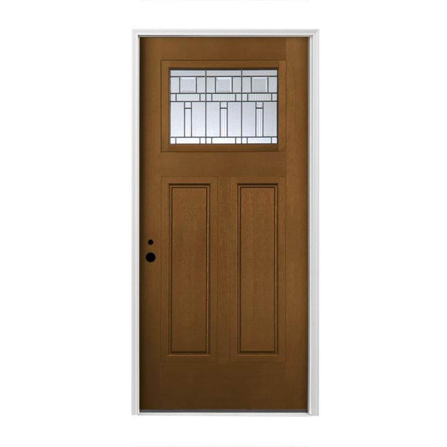 Pella Craftsman Insulating Core Craftsman 1-lite Right-Hand Inswing Prestained Special Walnut Fiberglass Stained Prehung Entry Door (Common: 36-in x 80-in; Actual: 37.5-in x 81.75-in)