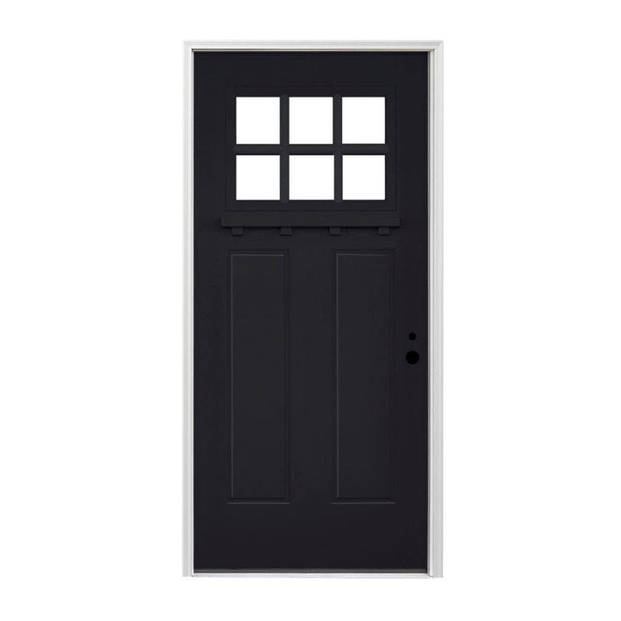 Shop pella craftsman left hand inswing prefinished black exterior white interior painted for Lowes fiberglass exterior doors