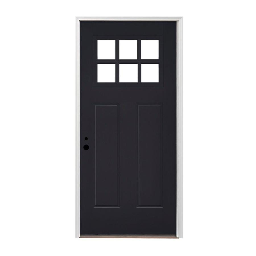 Shop Pella Right Hand Inswing Painted Fiberglass Entry Door With