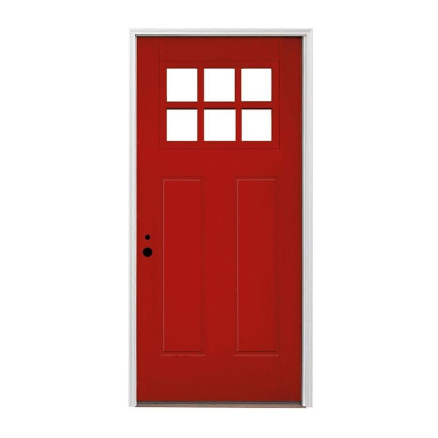 Pella Craftsman Insulating Core Craftsman 1-lite Right-Hand Inswing Fiberglass Painted Prehung Entry Door (Common: 36-in x 80-in; Actual: 37.5-in x 81.75-in)