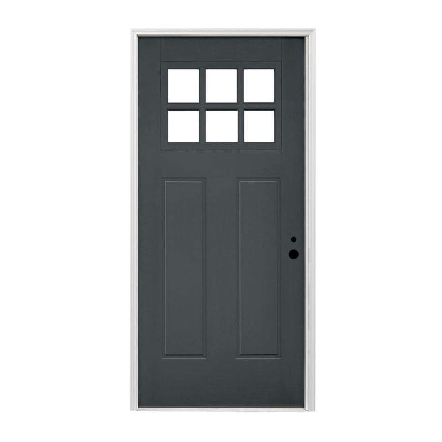 Pella Craftsman Left Hand Inswing Prefinished Iron Ore Exterior White Interior Painted Fibergl Entry Door