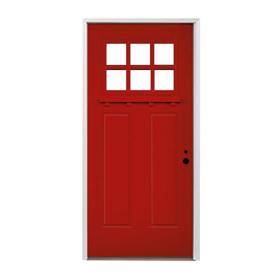 Shop pella craftsman left hand inswing prefinished real for Craftsman entry doors fiberglass