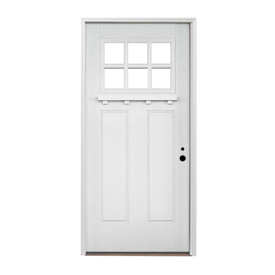 Pella Left-Hand Inswing Painted Fiberglass Entry Door with Insulating Core (Common: 36-in x 80-in; Actual: 37.5-in x 81.75-in)