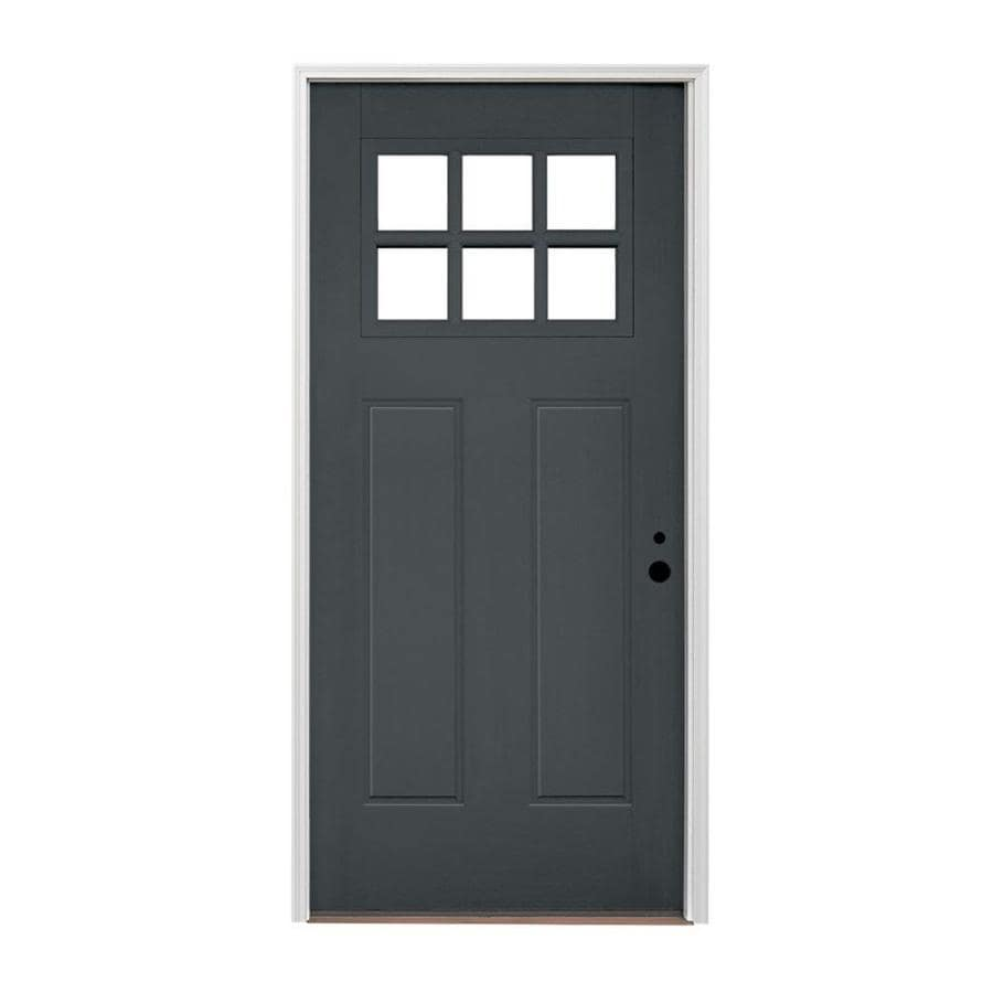 Shop pella left hand inswing painted fiberglass entry door for Exterior door insulation