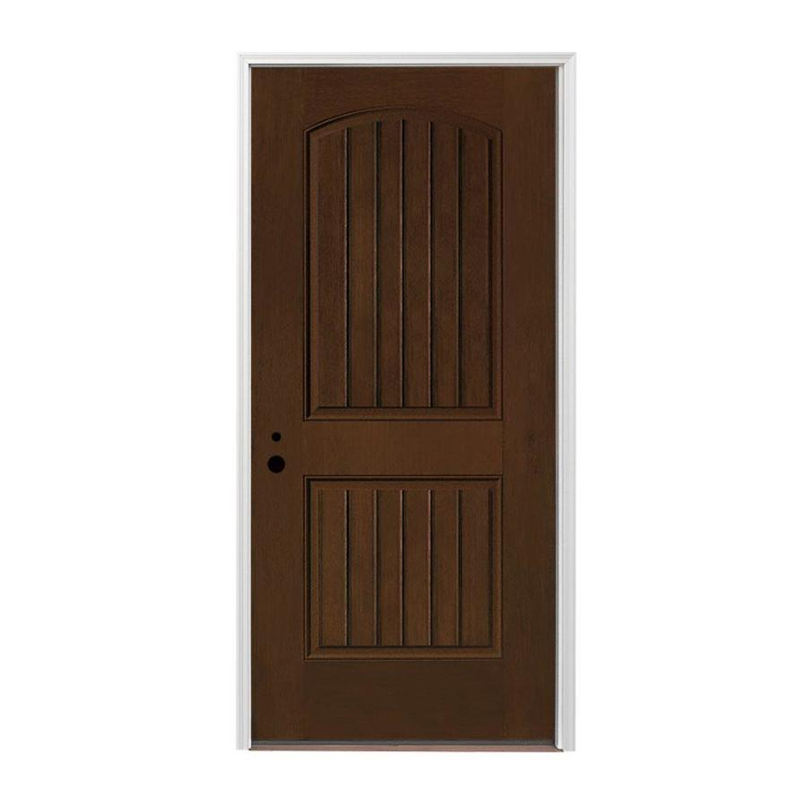 Pella 2-panel Insulating Core Right-Hand Inswing Prestained Dark Mahogany Fiberglass Stained Prehung Entry Door (Common: 36-in x 80-in; Actual: 37.5-in x 81.75-in)