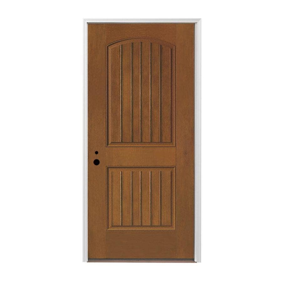 Pella 2-panel Insulating Core Right-Hand Inswing Prestained Provincial Fiberglass Stained Prehung Entry Door (Common: 36-in x 80-in; Actual: 37.5-in x 81.75-in)