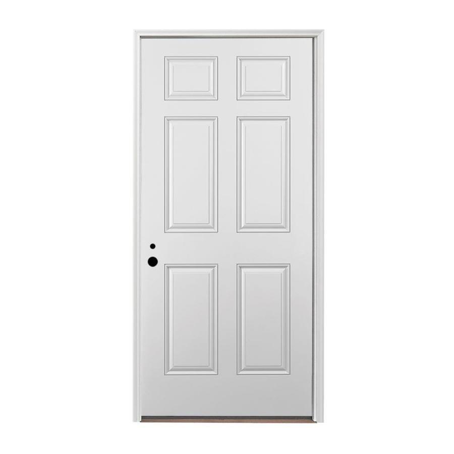 Fine Pella Right Hand Inswing Painted Fiberglass Entry Door With Insulating Core Common 36 In X 80 Door Handles Collection Olytizonderlifede