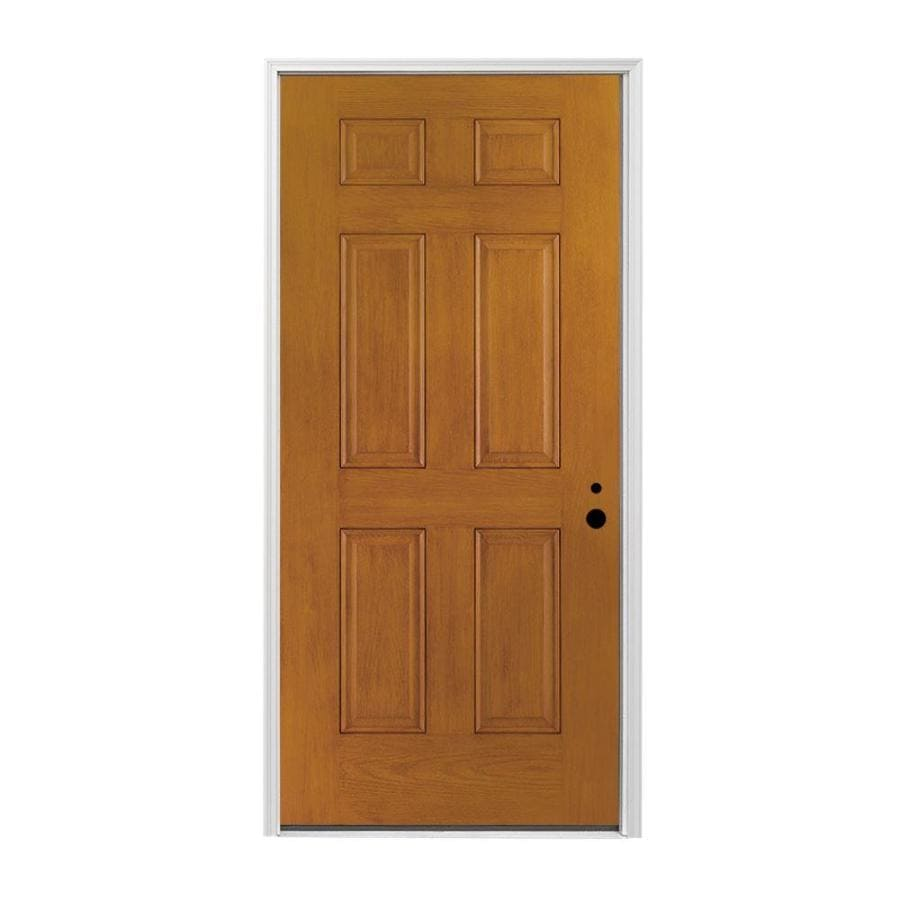 Shop Pella Left Hand Inswing Early American Stained Fiberglass Entry Door With Insulating Core