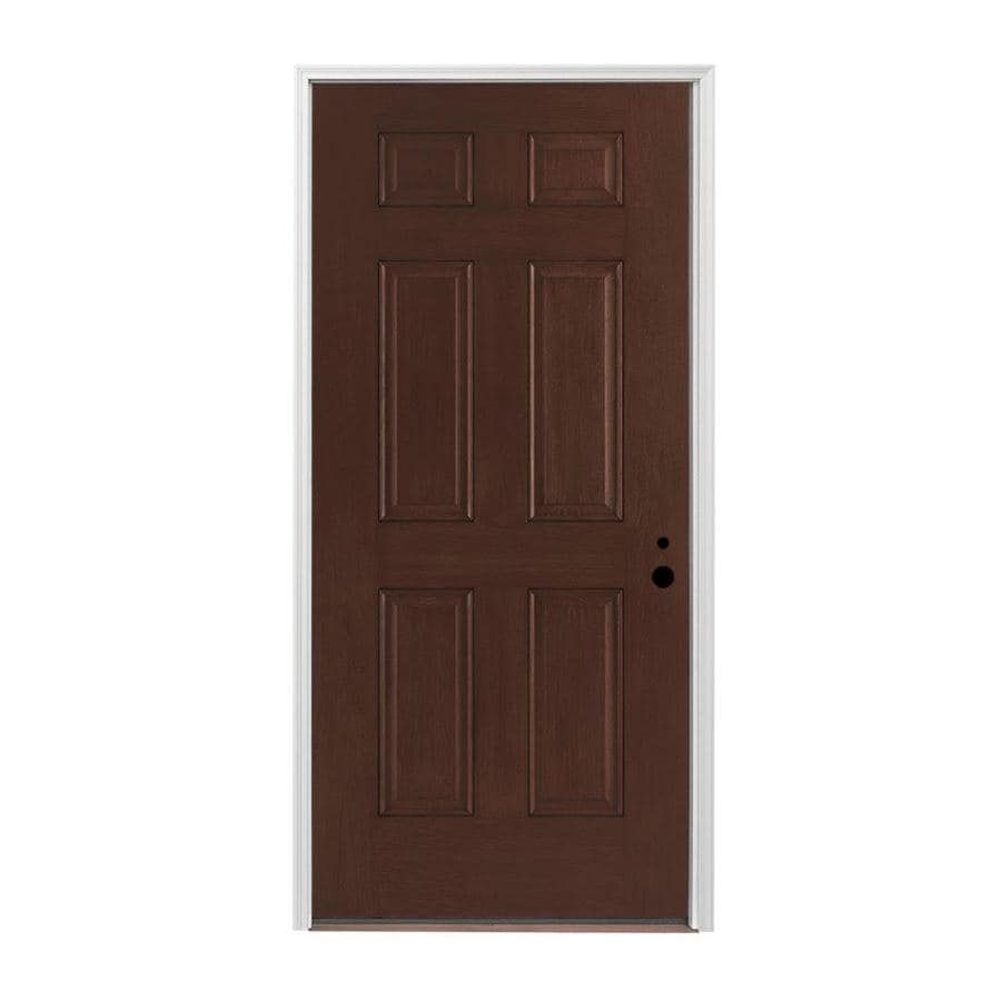 Pella 6-panel Insulating Core Left-Hand Inswing Prestained Dark Mahogany Fiberglass Stained Prehung Entry Door (Common: 36-in x 80-in; Actual: 37.5-in x 81.75-in)