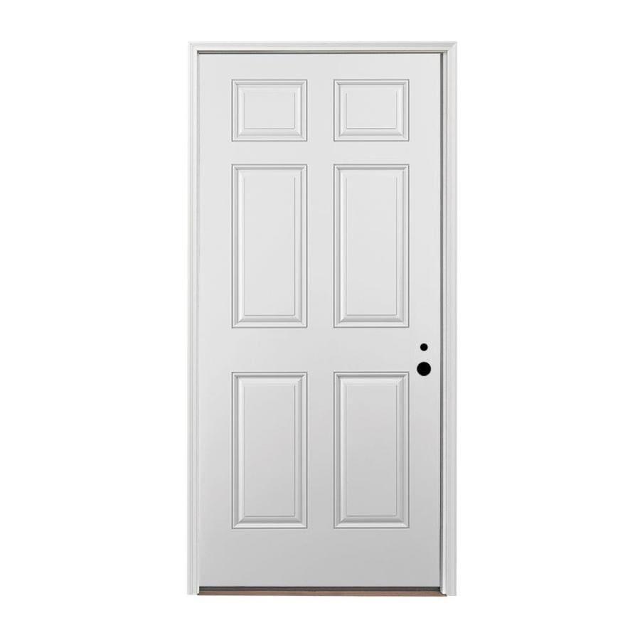 Pella 6-panel Insulating Core Left-Hand Inswing Fiberglass Painted Prehung Entry Door (Common: 36-in x 80-in; Actual: 37.5-in x 81.75-in)