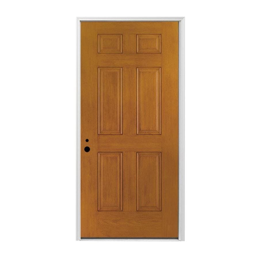 Pella Right-Hand Inswing Early American Stained Fiberglass Entry Door with Insulating Core (Common: 36-in x 80-in; Actual: 37.5-in x 81.75-in)