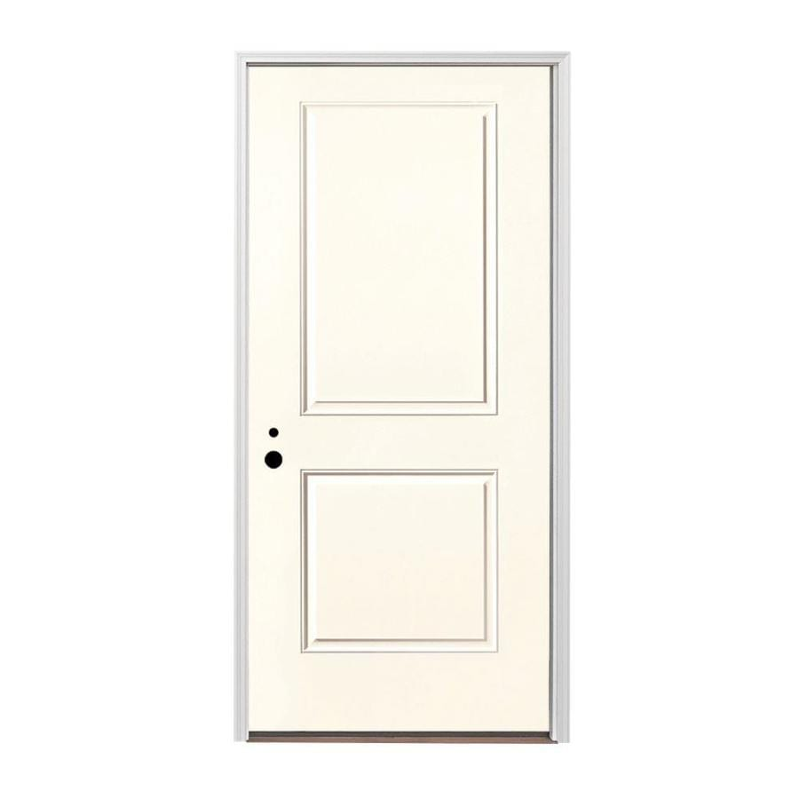 Pella 2-panel Insulating Core Right-Hand Inswing Fiberglass Painted Prehung Entry Door (Common: 36-in x 80-in; Actual: 37.5-in x 81.75-in)